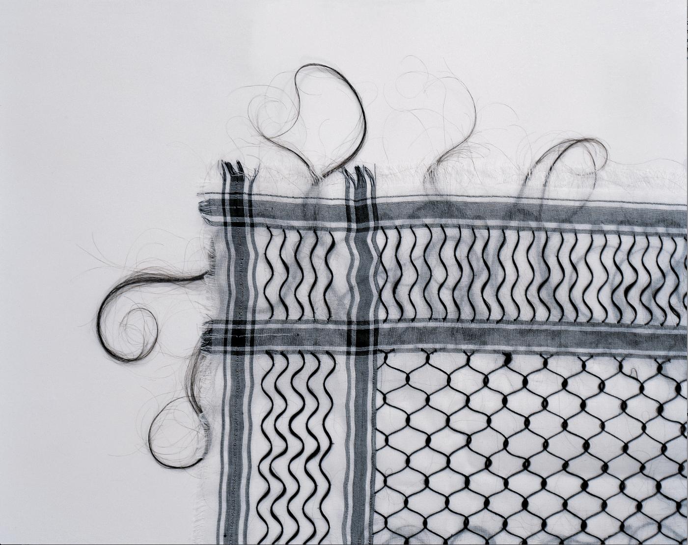 Exposition Ulysses, Itinéraire d'art contemporain,Keffieh 1993-99, Human hair on cotton fabric, détail, Mona Hatoum ©Hugo Glendinning Courtesy White Cube