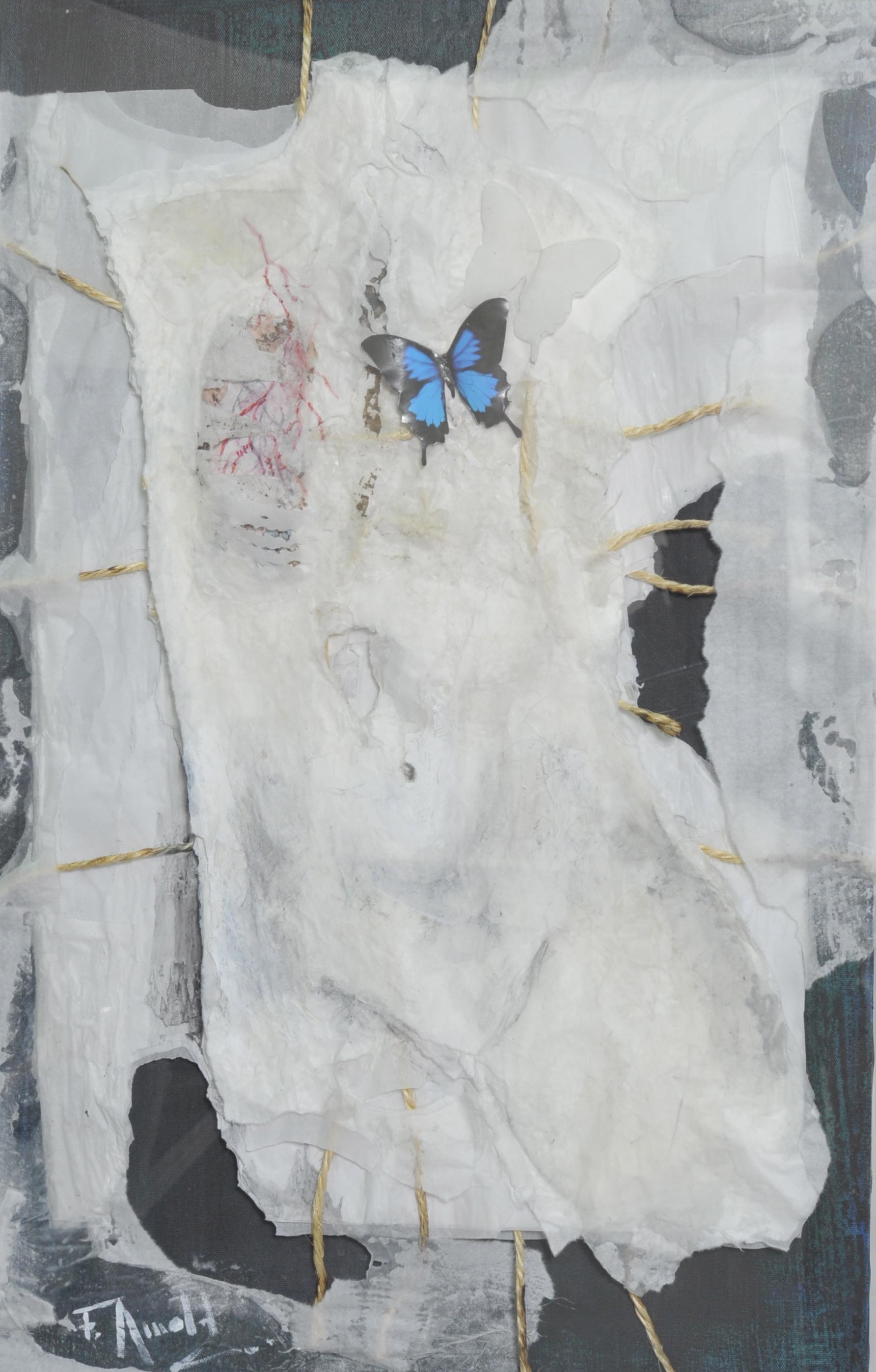 Florence Arnold, De la vie dans mes veines, millefeuille de papier, ficelle de lin, acrylique, 80 x 50 cm. Courtesy de l'artiste