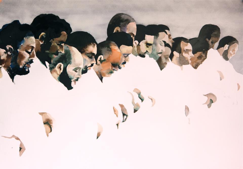 Laetitia D'Oultremont, La prière, 2012, encre et aquarelle sur papier, 50x70 cm ©Laetitia d'Oultremont