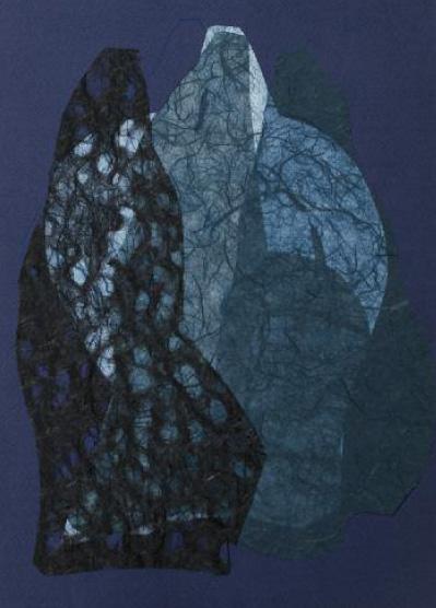 Meryem El Alj, Collages papier de riz éclairés, 2012, 30 cm x 20 cm. Copyright de l'artiste